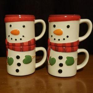 Hallmark Snowman stackable coffee mugs